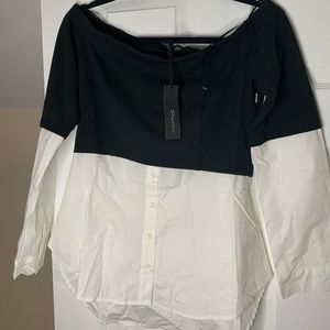 Shinestar two toned Black and white blouse.